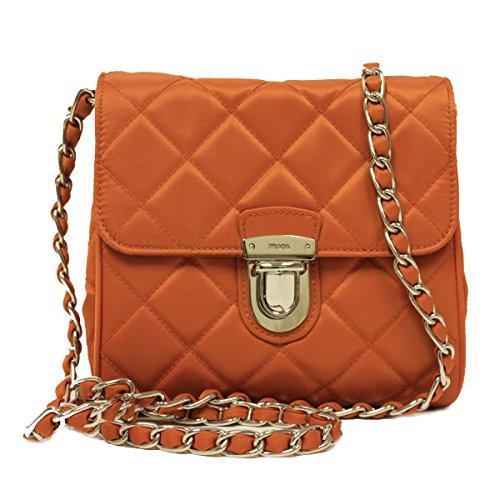 Prada BP0623 Papaya Orange Tessuto Impuntu Pattina Nylon and Leather Chain Crossbody Bag