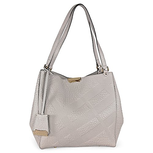 Burberry Canterbury White Embossed Check Leather Tote