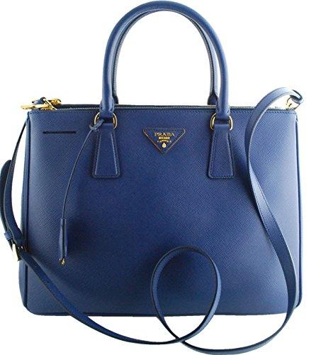 Prada Navy Blue Saffiano Lux Double Zip Tote Bag Bn2274