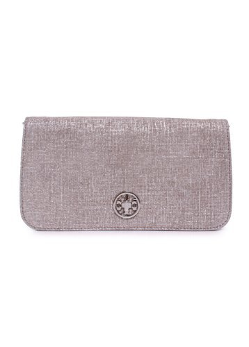 Tory Burch Adalyn Brushed Metallic Suede Clutch in Silver