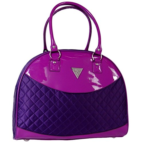Guess Retro Metro Quilted Dome Travel Tote Bag Handbag, Violet / Purple