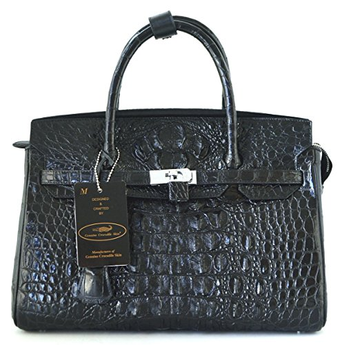 +ThaiPremiumHouse+100% GENUINE CROCODILE LEATHER HANDBAG CLUTCH BAG PURSE LARGE LOCKED SHINY BLACK NEW