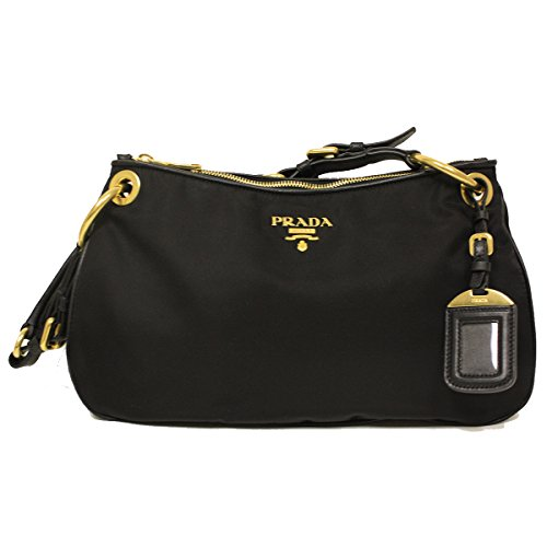 Prada BR4894 Nero Black Tessuto Soft Calf Leather and Nylon Shoulder Bag