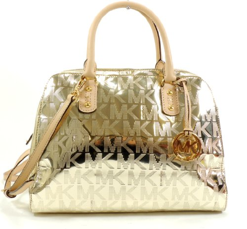 MICHAEL Michael Kors Large Mirror Metallic Signature Satchel (Pale Gold)