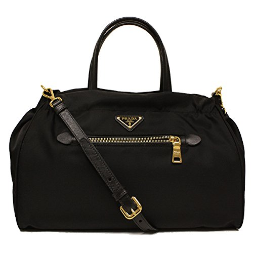 Prada B1843M Nero Black Tessuto Saffian Nylon and Leather Shopping Tote Bag