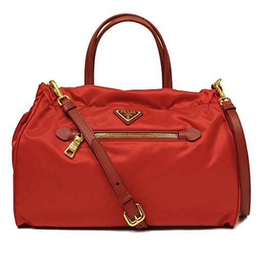 Prada B1843M Rosso Red Tessuto Saffian Nylon and Leather Shopping Tote Bag