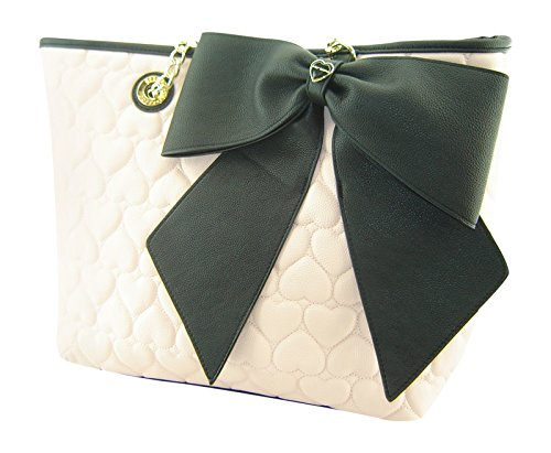 Betsey Johnson Large Bow Heart Embossed E/W Tote Blush Pink Black