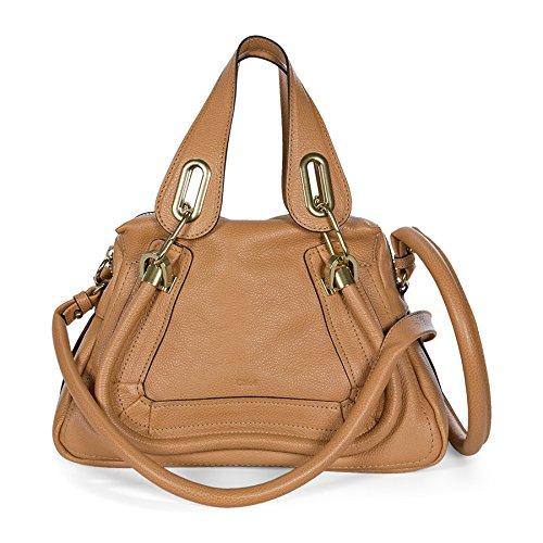 Chloe Paraty Small Leather Satchel Handbag – Light Tan