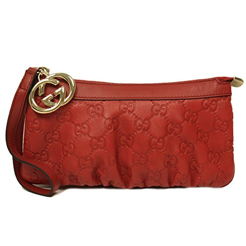 Gucci Interlocking G Detail Red Leather Wristlet Clutch Bag 212203 AA61G
