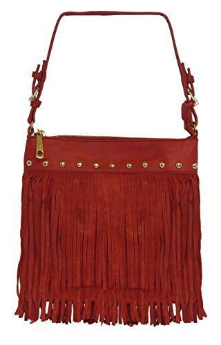 Beaute Bags Madden Fringe Shoulder Handbag Vegan Leather, Hobo bag, Womens Fringe Cowgirl Tassel Shoulder Bag, Womens Faux Leather Long Fringe Shoulder Bag, Imitation Leather Purse Handbag Totes Bag, High Quality Ladies Punk Tassel Fringe Handbag Satchel Purse Hobo Tote Shoulder Bag with zippered top closure
