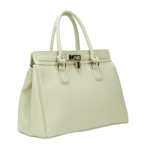HS 5097 OFELIA IV Made in Italy Grainy Leather Ivory Versatile Large Tote