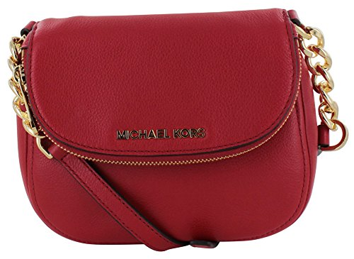 Michael Kors Bedford Leather Flap Cross body Bag Purse Red