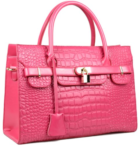 Heshe Women's Fashion Genuine Leather Crocodile Pattern Shoulder Cross Body Handbag
