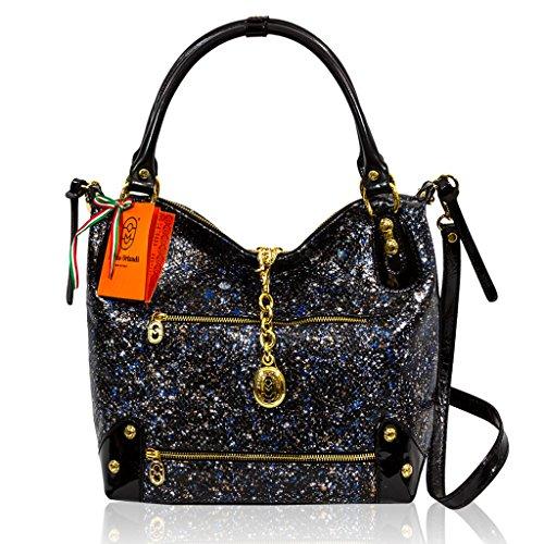 Marino Orlandi Italian Designer CELESTIAL Patent Leather Slouchy Crossbody Bag