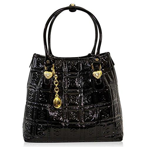 Marino Orlandi Italian Designer Black Patent Quilted Leather Large Tote Bag