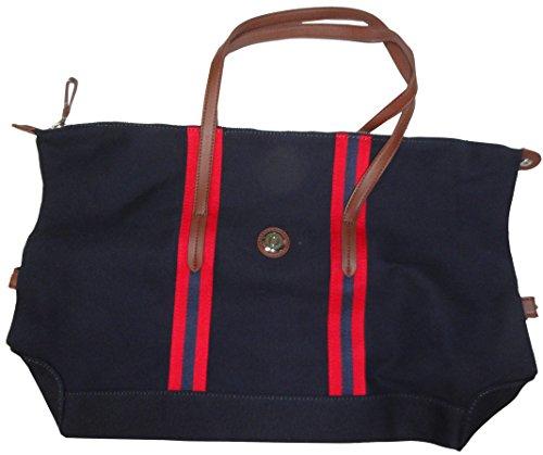 Tommy Hilfiger Purse Handbag Top Zip Canvas Tote Navy/Red