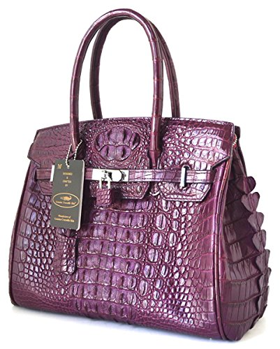 +ThaiPremiumHouse+ DOUBLE HORNBACKS GENUINE CROCODILE LEATHER HANDBAG CLUTCH BAG PURSE LARGE LOCKED PURPLE NEW