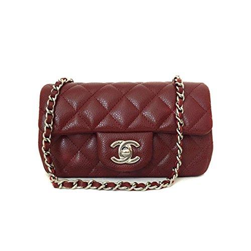 [CHANEL] Quilted Burgundy Caviar Skin Classic Mini Flap Matelasse Shoulder Bag