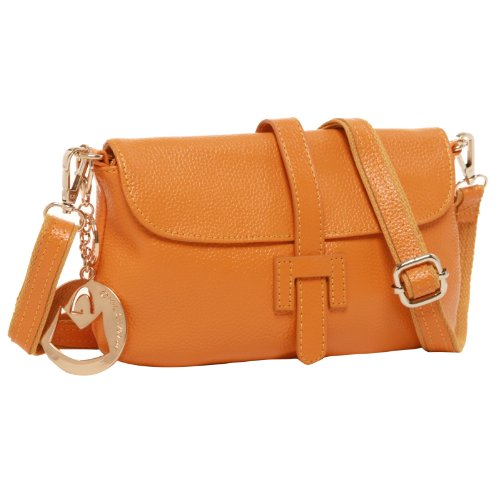 MG Collection VICKY Orange Yellow Mini Evening Clutch Purse Crossbody Handbag