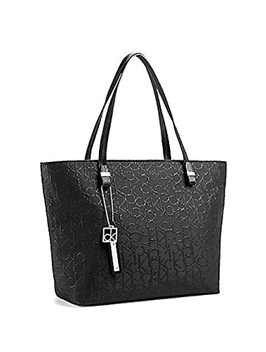 Calvin Klein Haley Lurex City Shopper Tote Handbag Black Lurex