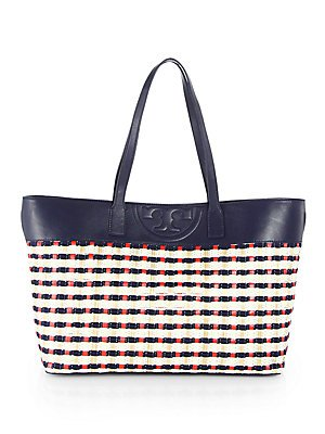 Tory Burch Soft Straw Multicolor East West Tote
