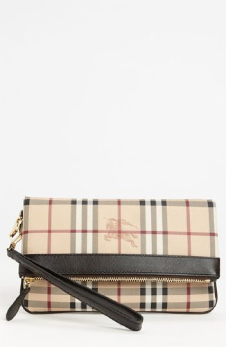 Burberry Haymarket Check Folding Wristlet – Chocolate