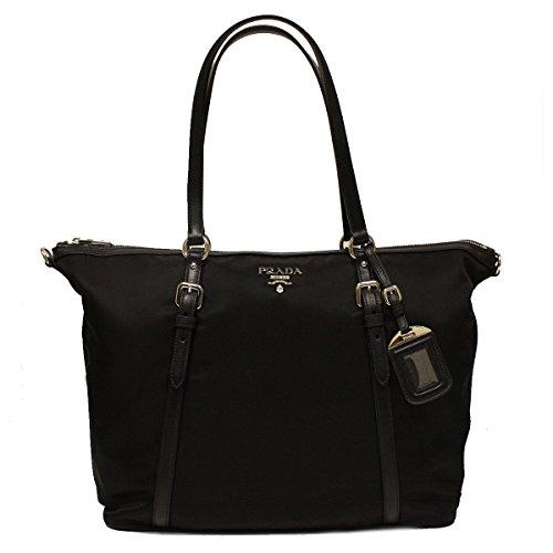 Prada B4253M Nero Black Tessuto Soft Calf Nylon and Leather Shopping Tote Bag