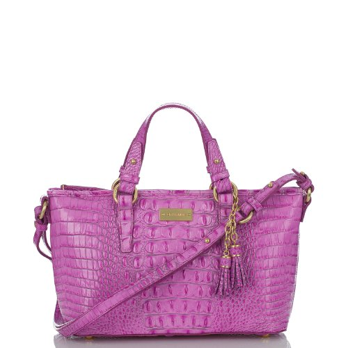 Brahmin Mini Asher Tote Peony Melbourne Pink Croc Embossed Leather Purse