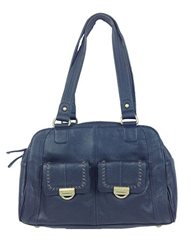 Tignanello Easy Rider Triple Entry Leather Satchel, Navy