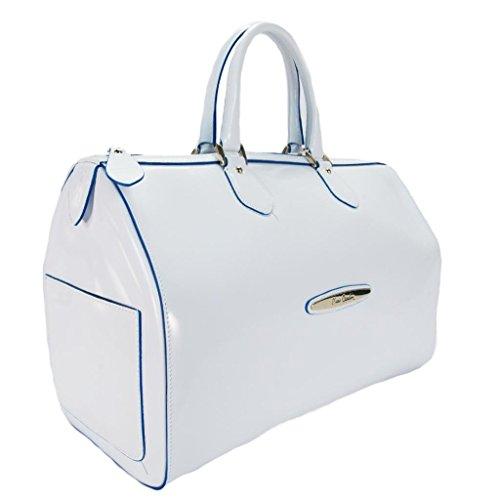 Pierre Cardin 4065 BIANCO/BLU Made in Italy White/Blue Leather Medium Speedy/Bowling Bag