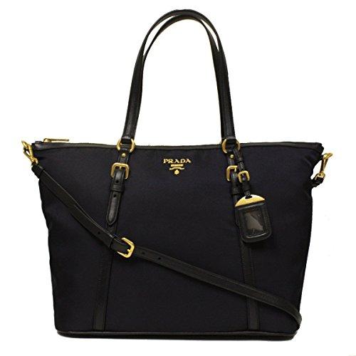 Prada B4253M Bleu Navy Tessuto Soft Calf Nylon and Leather Shopping Tote Bag