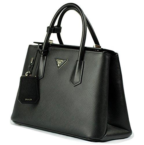 Prada Women's Saffiano Cuir Convertible Handbag Bn2823 Nero