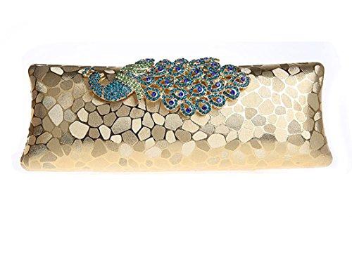 Whoinshop Women's Rhinestones Peacock Evening Clutch Bag