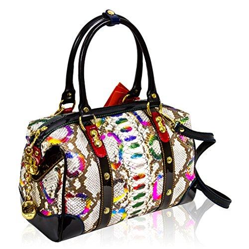 Marino Orlandi Italian Designer Rainbow Python Leather Large Speedy Crossbody Bag