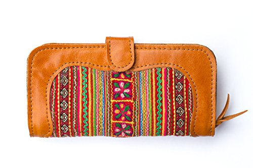 Woman's Leather Clutch Wallet, Vintage Style Hmong Embroidered with Compartment for Iphone 4,5,6