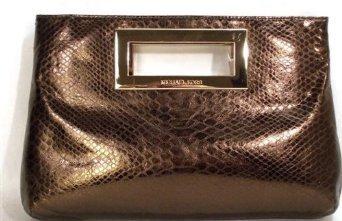 Michael Kors Berkley Metallic Python Embossed Leather Cocoa Clutch Handbag Purse