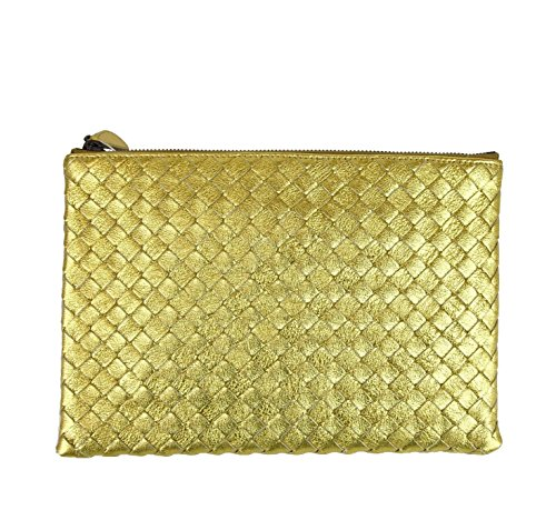 Bottega Veneta Gold Woven Pouch Bag Intrecciato Leather Clutch 302293 8417