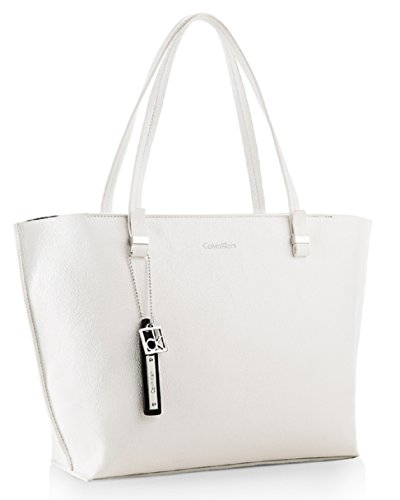 Calvin Klein Womens Haley City Shopper Tote Bag Handbag (White)