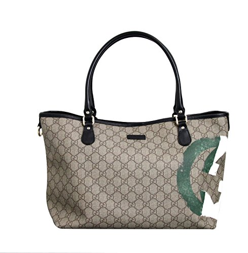 Gucci Coated Canvas Italian Flag Handbag Tote Bag 203693