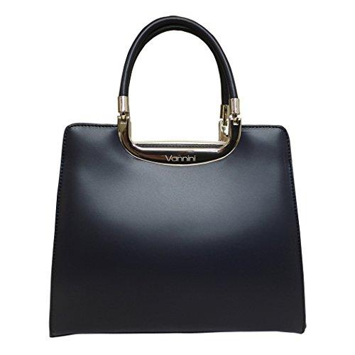 Vaninni Designer Dark Blue and Crema Leather Grab Bag Evening Wedding Handbag