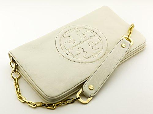 Tory Burch Reva Leather Clutch Shoulder Bag White Bleach