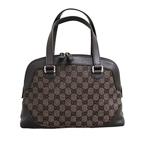 Gucci Brown Canvas Tote Top Handle Bag Leather Handbag 272378