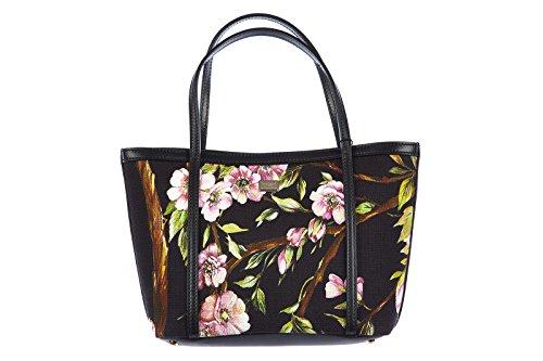 DOLCE&GABBANA women's handbag shopping bag purse tela floral print black