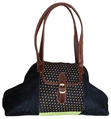 LaGaksta Work of Art Designer Genuine Calf Hair and Leather Shoulder Bag MADE IN USA