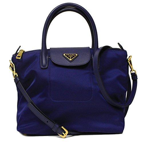 Prada BN2106 Royal Blue Tessuto Saffian Nylon and Leather Shopping Tote Bag