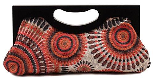Scarleton Wood Framed Embroidered Clutch H3001