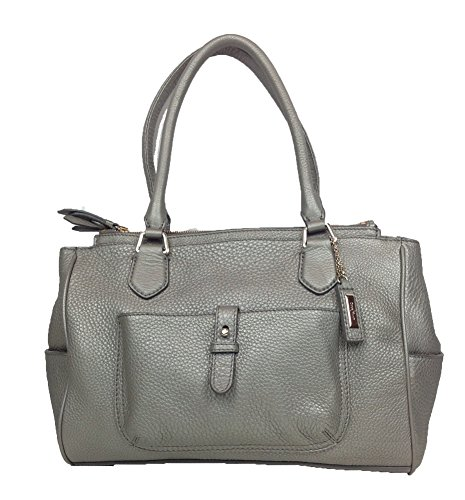 Cole Haan Village II Pebbled Leather Double Zip Satchel, Dark Silver