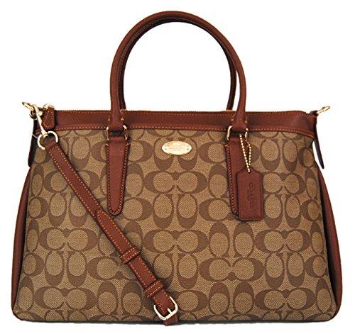 COACH Signature Morgan Satchel Shoulder Bag Handbag 34617 Khaki Saddle