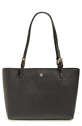 Tory Burch Small York Saffiano Leather Buckle Tote Black Dustbag New