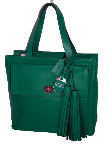 Coach Legacy America Icon Limited Leather North South Pocket Tote 19982 Emerald Green